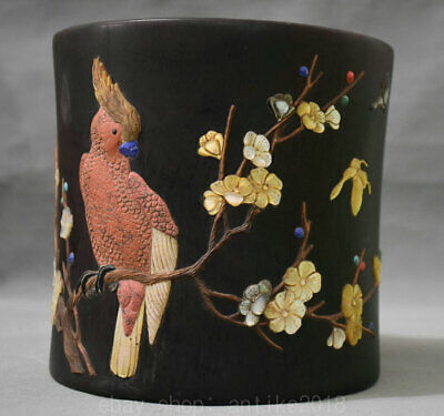 """8"""" Old Chinese Red Wood inlay Shell Carving Flower Parrot Brush Pot Pencil Vase"""