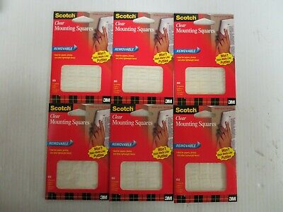 lot of 6 3M 859 Scotch™ Clear Removable Mounting Squares