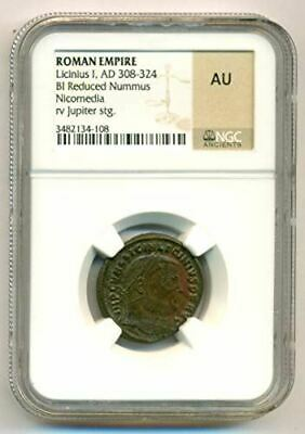 Roman Empire Licinius I AD 308-324 BI Reduced Nummus rv Jupiter AU NGC