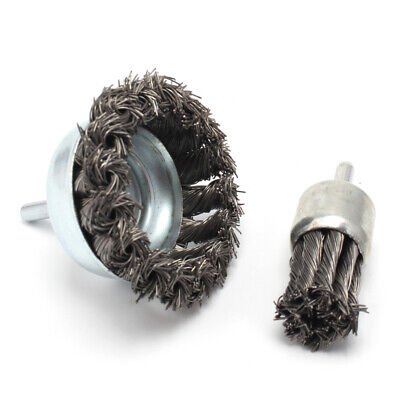 2Pcs 25mm&75mm Stainless Steel Wire Knot End Brush With Shank Rotary Tool