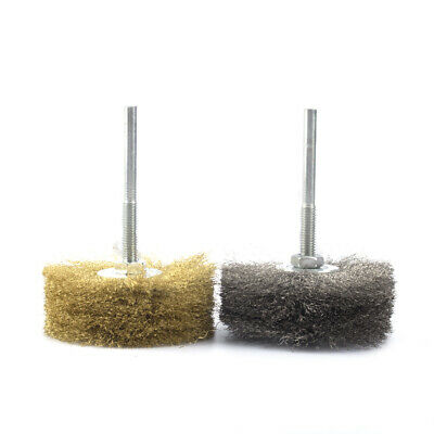 2Pcs 6mm*80mm Steel&Copper Wire Wheel Abrasive Wheel Polishing Brush Combination