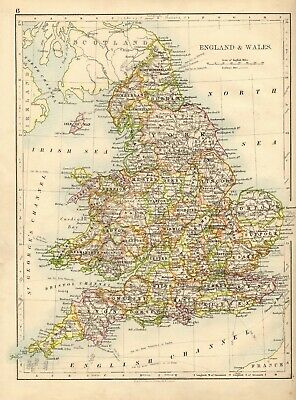 Antique MAP ~ ENGLAND & WALES ~ W. & A. K. Johnston 1897 120+ Years Old