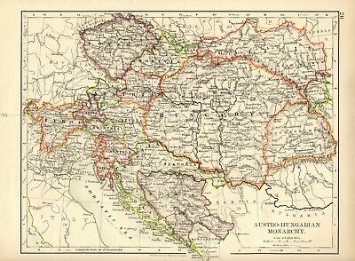 Antique MAP ~ AUSTRIA HUNGARY ~ W. & A. K. Johnston 1897 120+ Years Old