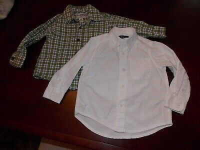 Childrens Place Infant Boys Whte Dress + Plaid Long Sleeve Shirts 18mos