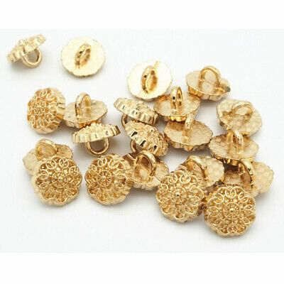 10pcs Fashion Flower Carving Shank Buttons Coat Sewing Button Embellishment 20mm
