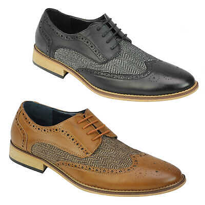d7cf34810f1 LONDON BROGUES GATSBY Mens Leather Wingtip Lace Up Brogues Two Tone ...