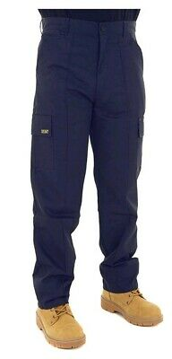 Mens Cargo Combat Work Trousers Size 38 Long Navy By SITE KING / 02