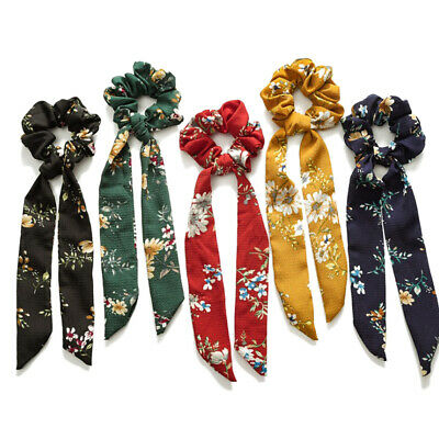 Cute Floral Print Long Ribbon Knotted Scrunchie Elastic Bow Scarf Hair Rope Ties