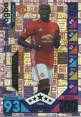 Match Attax 2016/17 Hundred 100 Club Paul Pogba Manchester United