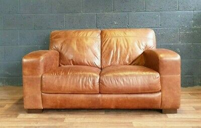 Vintage John Lewis Chesterfield Distressed Tan Real Leather Club Art Deco Sofa