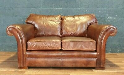 Vintage Thomas Lloyd Chesterfield Distressed Tan Real Leather Club Cottage Sofa