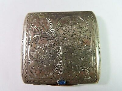 Antique 800 Silver Hand Chased Powder Compact  With Cabochon Sapphire
