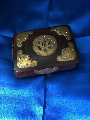 Antique/Vintage Chinese Rosewood Brass Decorated Covered Box with Bats Design