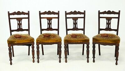 4 Edwardian Carved Dining Chairs With Carpet Bag Upholstery FREE UK Delivery