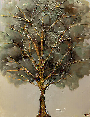 Modern Gold textured Blooming Tree painting Green Gold abstract painting Osnat