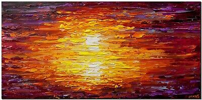 Colorful sunset abstract painting textured palette knife art by Osnat Tzadok
