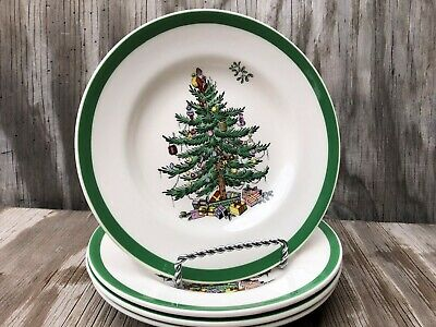 Spode Christmas Tree Small B&B Or Dessert Plates Set Of 4 Made In England
