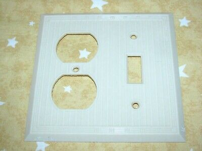 Vintage Wide & Narrow rib Ivory COMBO Light Switch & Out Plate cover Edge design