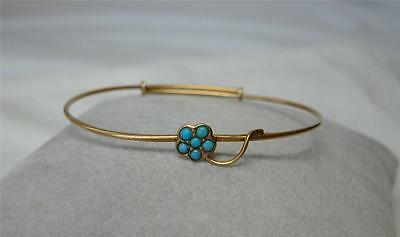 "Turquoise Victorian 12K Gold Bracelet Bangle Small Size 6"" Flower Art Deco"