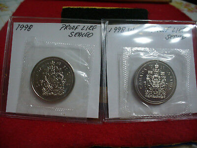 1998 and 1998 W  CANADA    HALF DOLLARS  FIFTY   50 CENT   2 COINS  PROOF LIKE