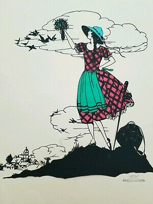 E.Schonberg, Silhouette Art. Stamped Signature. 1920's Germany