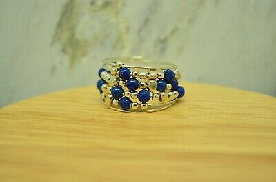 925 Sterling Silver Blue Beaded Coiled Ring Band Size 6.25  #24490