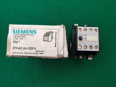 Siemens 3TH42 44-0BF4  Contactor 110 VDC Coil 4Kw