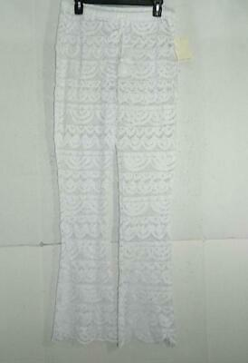 ffcb5cb3bd3ee Miken Women's White Crochet Scalloped Pants Cover Up Swimsuit NWT Size ...