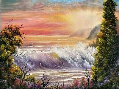Original Signed Ocean Oil Painting 18x24 Canvas Bob Ross Paints And Technique