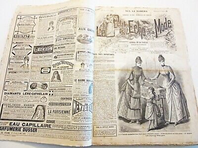 Vintage French Fashion Ladies' Magazine Bound Collection  Le Petit Echo 1894