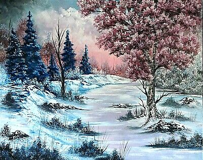 Original Signed Winter Oil Painting 24x30 Canvas Bob Ross Paint & Technique