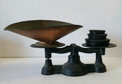 Vintage Cast Iron Scale With Weights &Pan