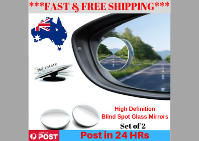 Blind Spot Mirror 2xRimless HD Glass Wide Angle 360degree Convex Mirror Rearview