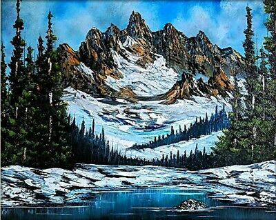 Original Signed Mountain Oil Painting 16x20 Canvas Bob Ross Paint & Technique