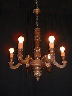 Antique French carved wood chandelier France
