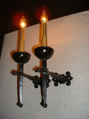 Vintage French wrought iron sconces wall lamps France Gothic