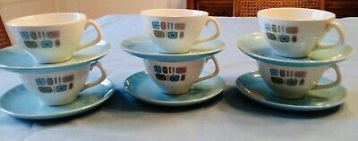 Temporama Vintage Atomic Canonsburg Cups and Saucers (6)