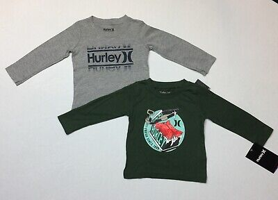 New Hurley Infant Toddler Boys Long Sleeve T-Shirts Lot Of 2 Size  12 Months