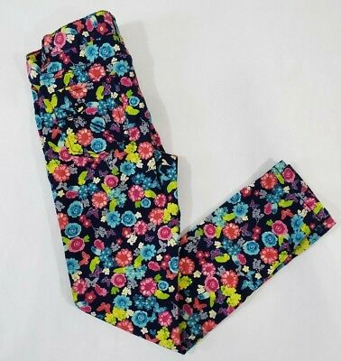 c55a0ed0fe5df Childrens Place Girls Stretch Skinny Pants Sz 10 Navy blue pink floral  Jeggings