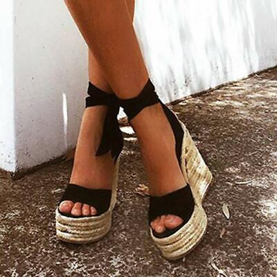 Womens Roman Wedge Espadrille Sandals Lace Tie Up Strappy Party Platforms Size