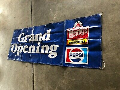 "4487fa60cba5 Wendys Pepsi ""Grand Opening ""Flag Banner Fast Food Old Fashioned Hamburgers  1986"