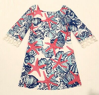 85d577b897cd Lilly Pulitzer She She Shells Harbour Tunic Dress Small Starfish Blue Pink  White