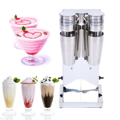 Electric Milkshake Machine Stainless Steel 2 Head Milk Tea Blender 18000RMP 220V