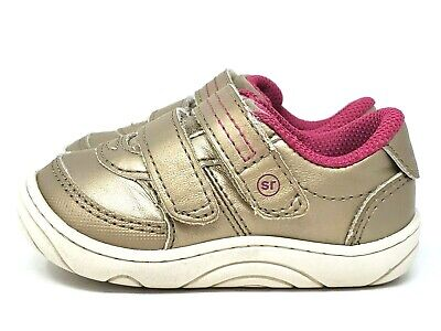 ee60c4facedd1 STRIDE RITE BABY Girls Size 4 Kyle Sneakers VGUC Light Gold & Pink