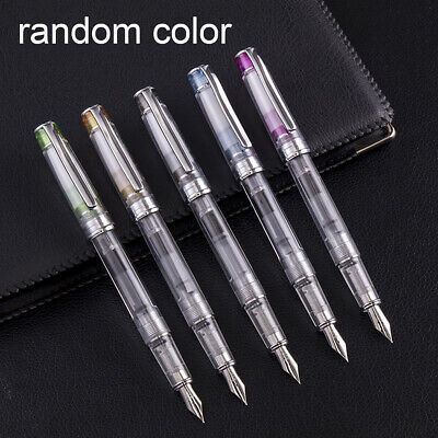 AU Transparent Piston Calligraphy Fountain Writing Pen Fine Nib 0.38mm Wing Sung