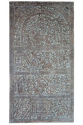 Vintage Tribal Barn Door Hand carved Distressed Wood Bohemian Wall decor