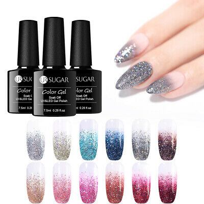 UR SUGAR 7.5ml Holographic Gel Polish Silver Glitter Soak Off UV Gel Varnish
