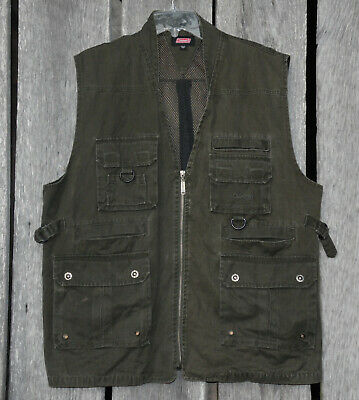 f1f82a97ed229 MENS AUSABLE BEIGE cotton zip fly Fishing Outdoors Hunting Vest Size ...