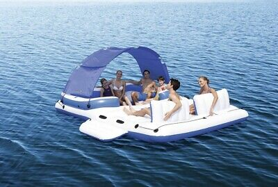 Giant Float Bestway Cooler Tropical Breeze 6 Person Floating Island Pool Lake