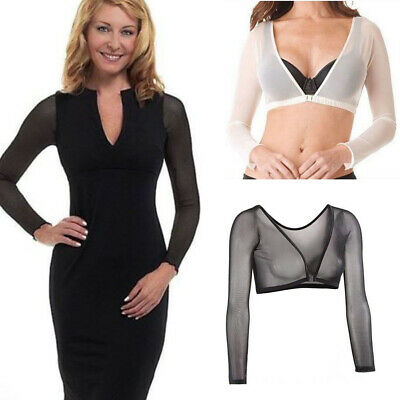 Women Both Side Wear Sheer Seamless Arm Shaper Crop Tops Mesh Dress Shirt Blouse